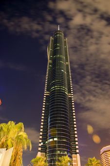 Highest Skyscraper By Night Royalty Free Stock Photography