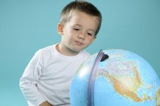 Free White Boy Learning Geography With Globe Stock Photos - 15733593