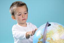 Free White Boy Learning Geography With Globe Royalty Free Stock Photography - 15733607