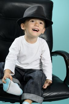 Free Happy Little Boy With Black Hat Smiling Royalty Free Stock Images - 15733719