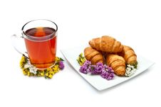 Free Croissants With Tea Stock Images - 15733994
