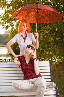 Free Two Teenage Girls At Summer Park Royalty Free Stock Images - 15734179