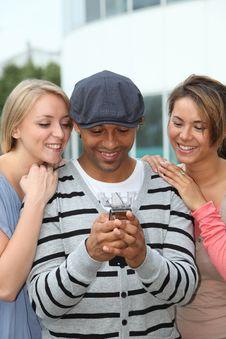 Group Of Friends With Telephone Stock Image