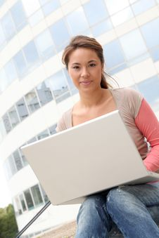 Free Young Woman Studying On Computer Stock Image - 15734411
