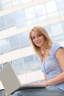 Free Beautiful Blond Woman With Computer Stock Photos - 15734423
