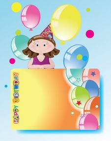 Free Girl With Balloons,birthday Congratulations. Royalty Free Stock Photo - 15734865