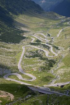 Traffic On A High Mountain Road Royalty Free Stock Image