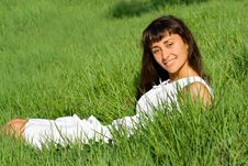Smiling Girl On The Meadow Stock Images