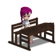 Cute Little Cartoon School Girl Sitting On A Stock Image