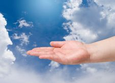 Free Man Hand On Blue Sky Royalty Free Stock Photos - 15738048