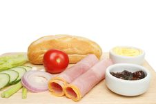 Free Ham Baguette Ingredients Stock Photos - 15738113
