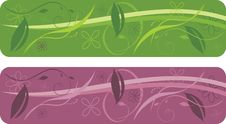 Two Patterns For Decorative Floral Borders Royalty Free Stock Photo