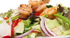 Shrimps On Salad Royalty Free Stock Images