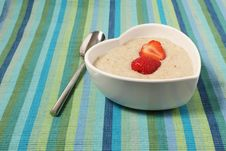 Free Porridge In A Heart Shaped Bowl With Strawberries Royalty Free Stock Photo - 15739555
