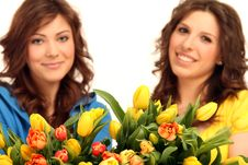 Free Two Girls With Flowers Stock Image - 15739561