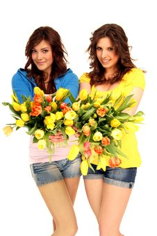 Free Two Girls With Flowers Royalty Free Stock Photos - 15740058