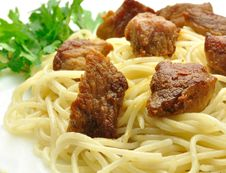 Spaghetti With Meat And Herbs Stock Photo