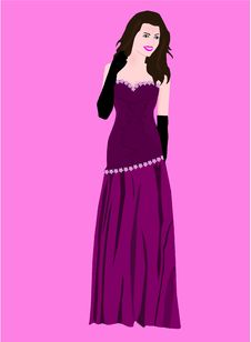 Free Beautiful Vector Girl With Purple Dress Royalty Free Stock Photos - 15745008