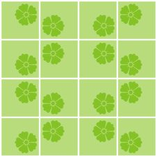 Free Green Tile In A Flowers Royalty Free Stock Image - 15745976