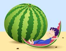 Free Boy And Watermelon. Stock Photos - 15746003