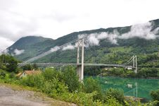 Bridge Over Fjord Stock Photography