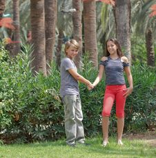 Boy And Girl N The Park. Stock Images