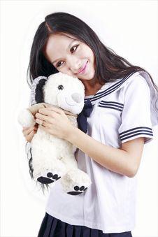Free Female Student & Toy Dog Royalty Free Stock Image - 15747666
