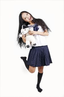 Free Female Student With Toy Dog Stock Photo - 15747770