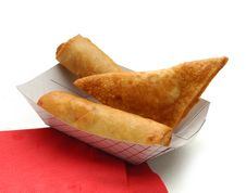 Two Eggrolls And A Wonton Stock Images
