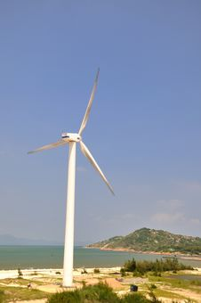 Wind Power Generator By Sea Stock Photos