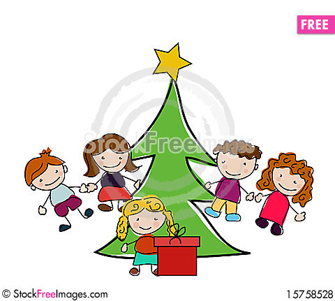 Vector New year card with kids Stock Photo