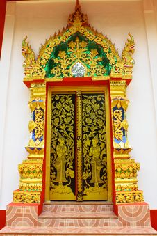 Free Thai Style Temple Door Royalty Free Stock Photo - 15750115