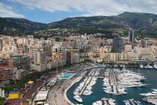 View Of Monaco And Harbour At Monte Carlo Stock Images