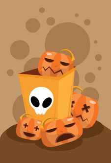 Free The Pumpkin Ghost In Bin Stock Images - 15750594