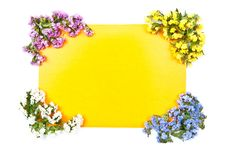 Free Yellow Card With Flowers Stock Photography - 15751242