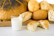 Free The Fresh Bread And The Milk Stock Photography - 15751282