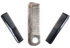 Three Plastic Combs Royalty Free Stock Image