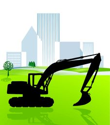 Free Shovel Excavator And City Royalty Free Stock Images - 15752829