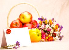 Greeting Card And Fruit Stock Photography
