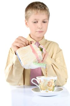 Free Portrait Of Young Teenager Drinking Tea Royalty Free Stock Image - 15752856