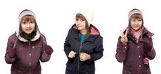 Free Collage Beautiful Young Girl In Winter To Cloth Royalty Free Stock Photos - 15752938