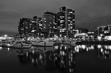 Night View Of Docklands Stock Images