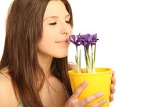 Young Brunette Woman With Flowerpot Stock Photos