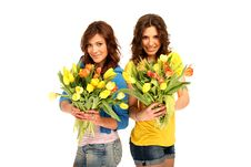 Free Two Girls With Flowers Stock Photo - 15753420