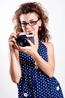 Beautiful Woman In A Blue Polka Dot Dress Stock Photos