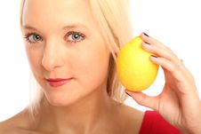 Free Blond Woman With A Citron Royalty Free Stock Photos - 15754288