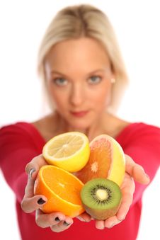 Free Blond Woman Holding Fresh Fruits Stock Images - 15754394