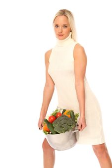 Young Woman With Fresh Vegetables