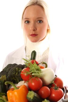 Free Young Woman With Fresh Vegetables Royalty Free Stock Photo - 15755185