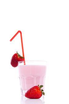 Strawberry Drinking Yoghurt Royalty Free Stock Photography